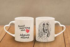 "Afghan Hound - ceramic cup, mug ""Good morning and love, heart"", Usa"