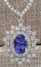 8.65 Carat Natural Tanzanite 18K White Gold Diamond Necklace