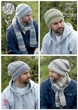 King Cole 4608 Knitting Pattern Mens Hats and Scarves King Cole Drifter Chunky
