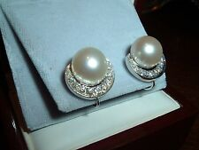 14kt SOLID GOLD DIAMOND AND 11mm SOUTH SEAS PEARL SCREW BACK EARRINGS 8.8 GRAMS