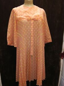 Vintage 1960's Orange Yellow Polka Dot Baby Doll Mod Dress Size Small