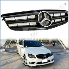 For 12-14 M BENZ W204 Sedan C-Class OE Look Front Grille Gloss Black Fins Cover