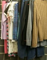 Womans Mixed Clothing Lot Coat Shirt Pant Jean Sweater Activewear Sleepwear