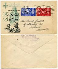 GB 1951 FESTIVAL ILLUSTRATED FIRST DAY COVER ROMFORD to DENMARK WALTER SANKEY HS