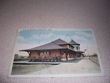 1925 CPR RAILROAD TRAIN STATION SASKATOON ANTIQUE POSTCARD