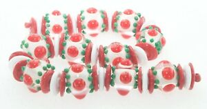 OliveStuart Handmade Lampwork Beads 47 christmas red/white/green round/disc