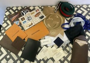 Authentic LOUIS VUITTON GUCCI CARTIER Mixed Lot Soho Strap Sticker Post Card