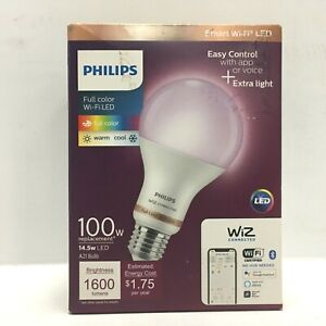 Philips 100W Wi-Fi Smart LED Bulb, Tunable Dimmable A21 Wireless Full Color