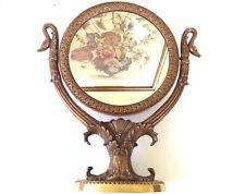 Vintage Victorian Style Bronze Brass Swan Dresser Mirror
