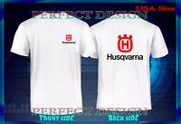 T SHIRT LOGO HUSQVARNA WHITE MEN'S T-SHIRT SIZE S M L XL 2XL