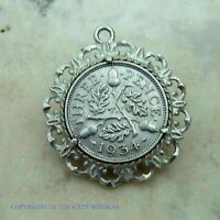 VINTAGE SILVER  1934 GEORGE V COIN IN FANCY MOUNT WATCH FOB/ CHARM