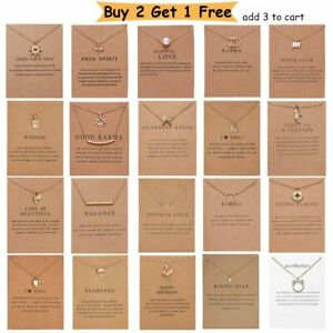 Fashion Women Animal Heart Necklace Charms Pendant Clavicle Chain Jewelry Cards