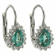 Earrings Handmade white gold 18 kt. 750 EMERALDS DIAMONDS brilliant cut
