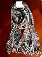 Oblong Fringe Scarf mixed color New