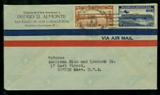 Dominican Republic 1936 Airmail Cover Santiago to Ma franked Scott C19, 296