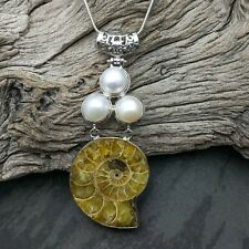 Large Ammonite Fossil Pearl Imitation Pendant On Silver Plated Snake Necklace