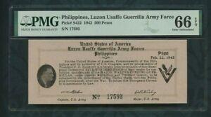 1942 Philippines, Luzon Usaffe Guerrilla Army Force p#S422 500 Pesos PMG 66 EPQ
