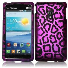 For LG VS870 Lucid 2 Rubberized Design - Purple leopard