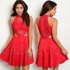 New Mock Neck Sleeveless Lace Babydoll Trendy Summer Dress Size 8 10 12 S M L