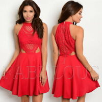 New Mock Neck Sleeveless Lace Babydoll Trendy Summer Dress Size 8 10 12 S M L