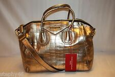 NEW! NWT! CHARLES JOURDAN Gold Croc Leather AUBREY Satchel Shoulder Bag $390