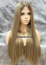 Human Hair Blend Lace Front Wig Long Straight Ombre Brown Ash Blonde W Baby Hair
