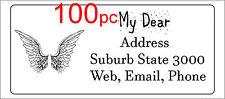 100 Personalised return address label custom mailing sticker 56x25mm angel wings