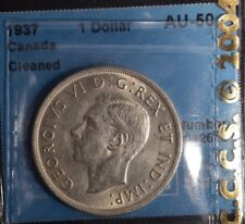 1937  Canada Dollar  -  Graded - CCCS AU-50 - cleaned