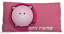 PERSONALISED CUTE PIG SMALL CUSHION IDEAL GIFT CAR TRAVEL ACCESSORY 11 X 9""