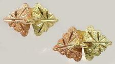 Handcrafted S Dakota Black Hills 12kt Red Green Gold Leaf Studs Ancient Sumer Ur