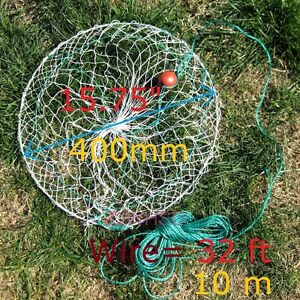 """15.75"""" (400mm) Crab Lobster Trap Catch Crabs Net with 32ft (10m) wire"""