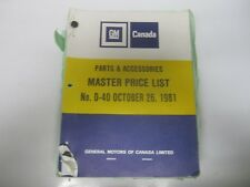 81 General Motors GM Canada Master Price List D40 October 1981 USED