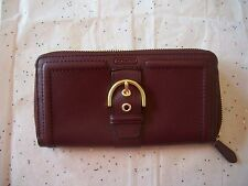 COACH CAMPBELL LEATHER BUCKLE ZIP AROUND ACCORDION WALLET 50011 NWT BORDEAUX