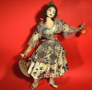 "KLUMPE ROLDAN DOLL 1950'S SPANISH DANCER 10"" VINTAGE FLORAL DRESS HAND MADE"