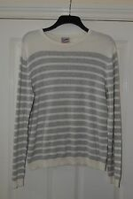Top Man Jumper size medium. White with light grey stripes. 100% cotton.
