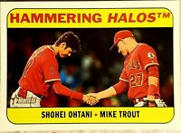 SHOHEI OHTANI & MIKE TROUT Angels ROOKIE CARD Topps Heritage Baseball HALOS RC!