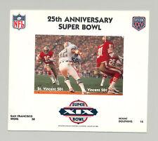 St Vincent #1418 Football Super Bowl XIX 1v M/S of 2 Imperf Chromalin Proof