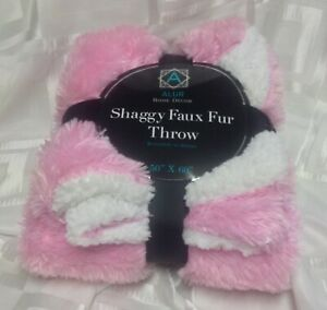SHAGGY FAUX FUR THROW 50 X 60 IN PINK & WHITE TRIM BY ALUR HOME DECOR REVERSIBE