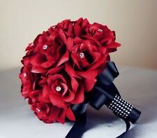 17pc wedding package:Apple Red Silk roses Bouquet,Boutonniere Corsages
