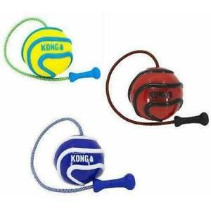 KONG Wavz Bunji Ball on Rope Dog Toy Bouncy Fun Fetch Chase Play Retrieve Floats