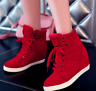 Women's Winter High Top Sneaker Lace Up Hidden Wedge Heel Ankle Boots Shoes
