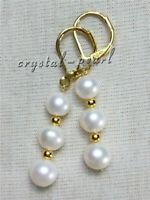 AAA 8-9 MM Real natural akoya white pearl earrings 14K yellow gold