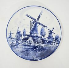 """Made in Holland Blue Delft 8"""" Charger / Wall Hanging Plate. Windmill & Sailboat"""