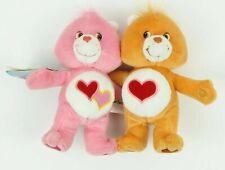 "Care Bears Love-a-lot and Tenderheart Hugging 7"" Plush Stuffed Animal 2002 Tags"