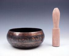 Vintage Tibetan Brass Gold Gilt Chakra LARGE Singing Bowl w/ Striker #02071701