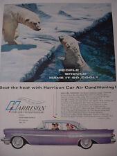 1957 Harrison Car Air Conditioning Polar Bears on Ice Vintage Print Ad 10231