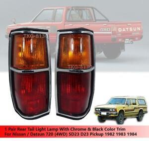 Pair Tail Light Lamp Chrome Black Trim Fit Nissan Datsun 720 4WD 1982 - 1984