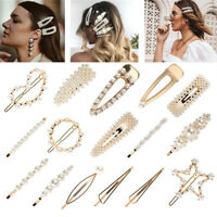 Women's New Pearl Hair Clip Gold Hair Accessories Hairpin Slide Grips Barrette p