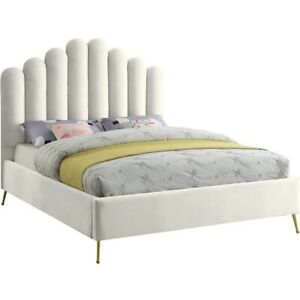 Meridian Furniture Lily Solid Wood and Tufted Velvet King Bed in Cream