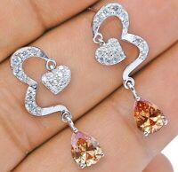 2CT Padparadscha Sapphire 925 Solid Genuine Sterling Silver Earrings Jewelry, X1